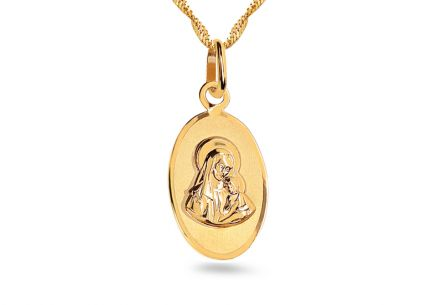 Gold Medaillon oval Madonna mit Kind