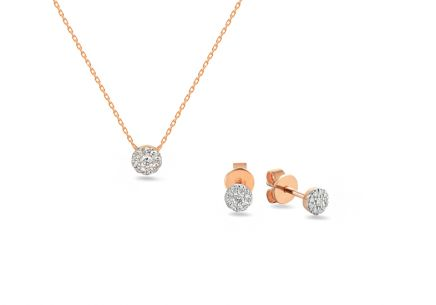 Brillant Set aus Roségold 0,140 ct
