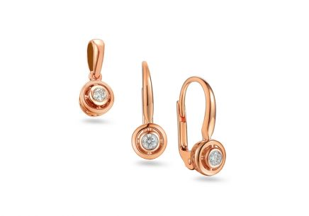 Brillant Set aus Roségold 0,170 ct