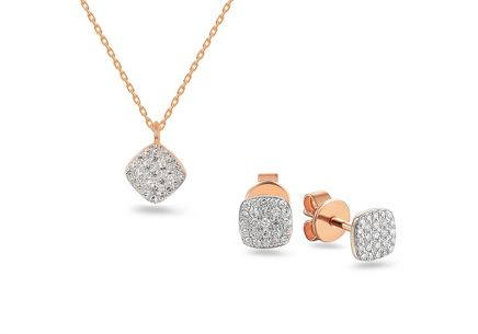 Brillant Set aus Roségold 0,200 ct