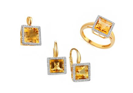 Citrinset mit Brillanten 0,360 ct