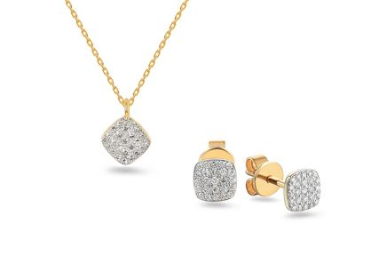 Goldset mit Diamanten 0,200 ct