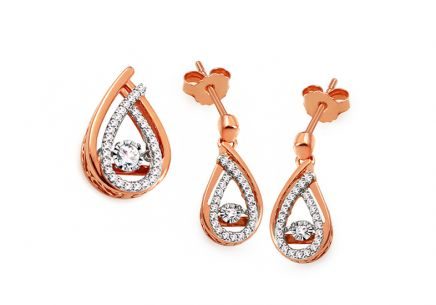 Set aus Roségold mit Diamanten 0,370 ct Dancing Diamonds