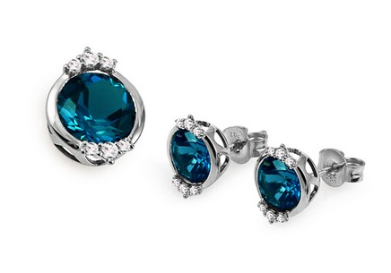Set mit London Blue Topas und Diamanten 0,240 ct Catelyn white