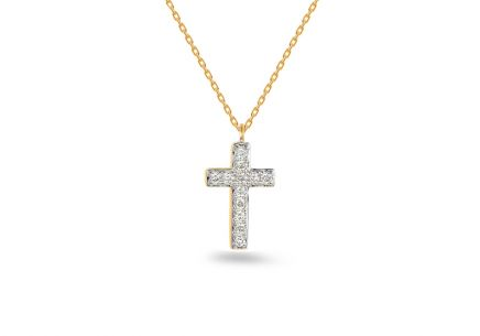 Brillant Gold Halskette mit Kreuz 0,060 ct
