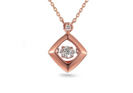 Brillant Halskette aus Roségold 0,090 ct Dancing Diamonds