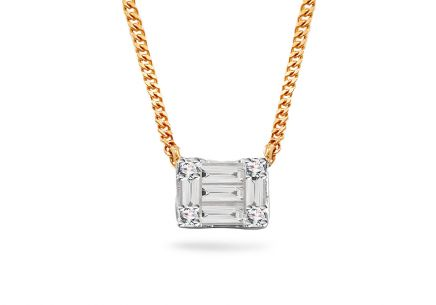 Gold Halskette mit Baguette Diamanten 0,100 ct