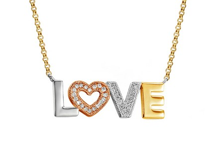 Gold Halskette mit Diamanten 0,070 ct LOVE