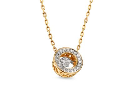 Gold Halskette mit Diamanten 0,140 ct Dancing Diamonds