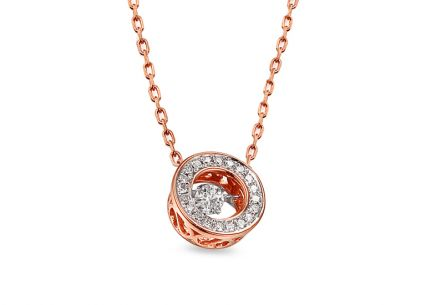 Halskette aus Roségold mit Diamanten 0,140 ct Dancing Diamonds