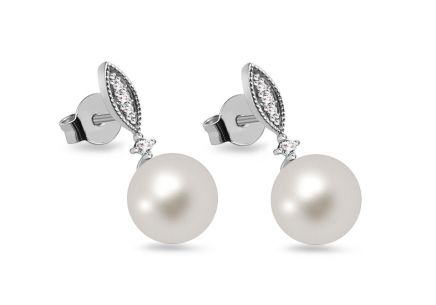 Perlenohrringe mit Diamanten 0,050 ct Pearl Riches