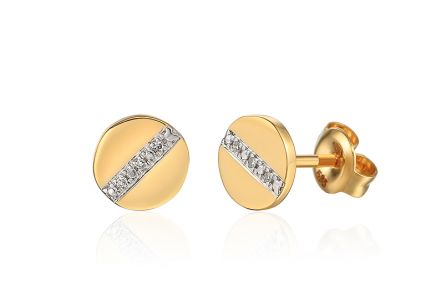 Goldbrillante Piercing-Ohrringe mit 0,010 ct-Rädern