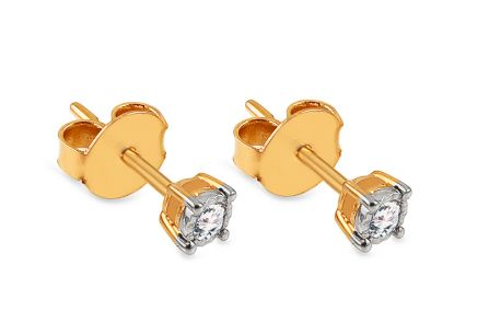 Goldohrringe Ohrstecker mit Diamanten 0,110 ct Little Yonnel