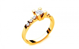 Verlobungsring mit Diamanten 0,370 ct Key To Heart 6 Yellow