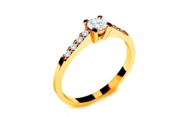 Verlobungsring mit Diamanten 0,220 ct Key To Heart 9 Yellow
