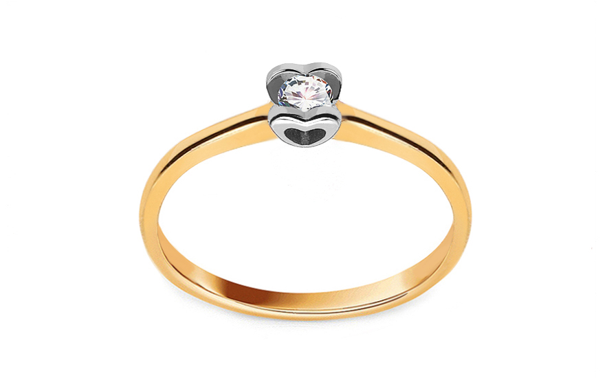 Gold Verlobungsring mit einem Diamanten 0,090 ct Power Of Love 10