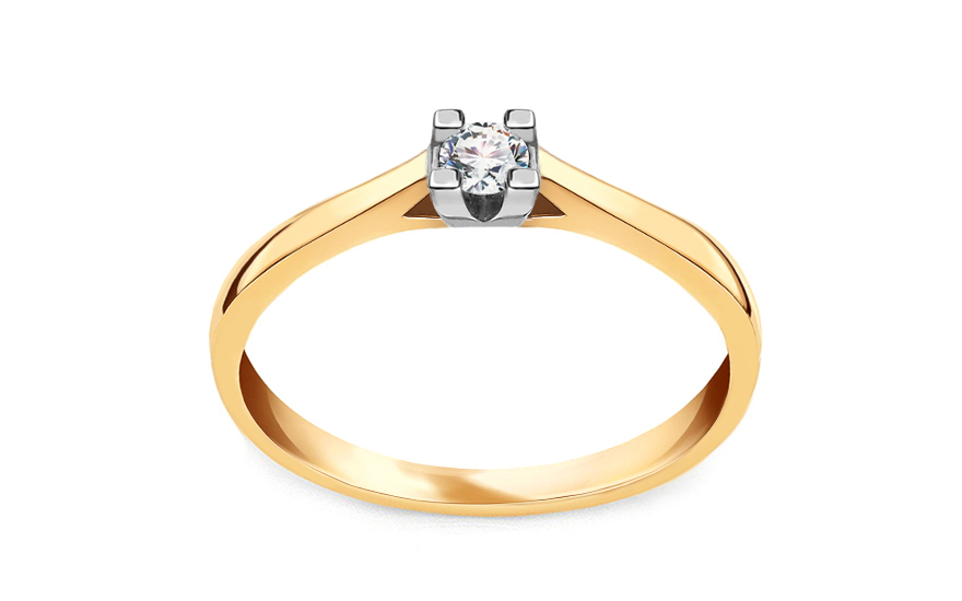 Gold Verlobungsring mit einem Diamanten 0,090 ct Royal Heart 7