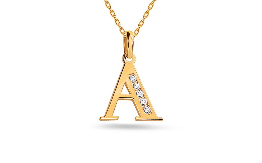 Goldanhänger Buchstaben A mit Zirkonen, für Damen (IZ16674A ...