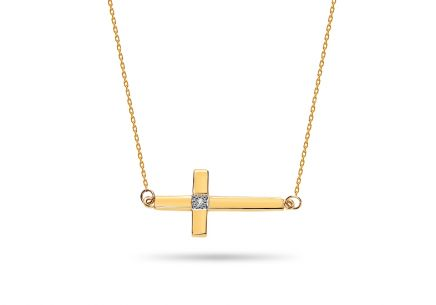 Gold Diamant Halskette Kreuz 0,005 ct