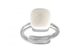 Damen Silberring White Stone