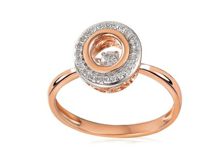 Brillant Ring aus Roségold 0,160 ct Dancing Diamonds