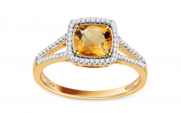 Citrin Ring mit Diamanten 0,150 ct Carolynn