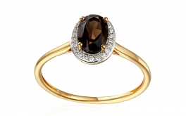 Goldring mit Diamanten 0,070 ct und rauchigem Quarzit Brown 2