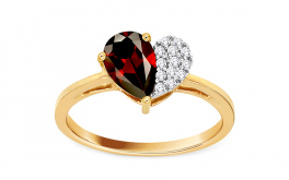 Ring mit Granatstein und Diamanten 0,050 ct Loving Heart
