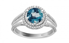 Ring mit London Blue Topas und Diamanten 0,150 ct Cammy white 1