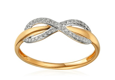 Goldring mit Diamanten 0,090 ct Infinity
