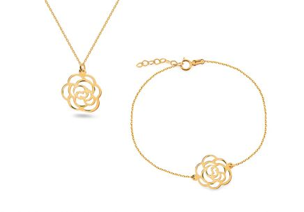Damen Goldset Blume
