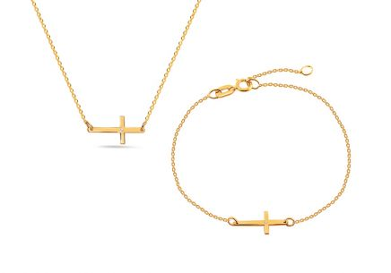 Gold Diamant Set Kreuz 0,010 ct