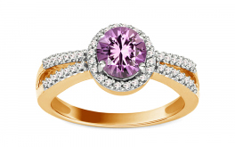 Amethyst Ring mit Diamanten 0,180 ct Amerei 7