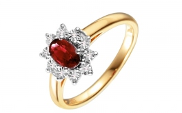 Gold Diamant Ring mit Rubin Loyola
