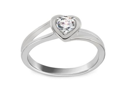 Verlobungsring mit Diamanten 0,140 ct Sweet Heart white