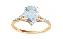 Topasring mit Diamanten Brea Gold 0,060 ct