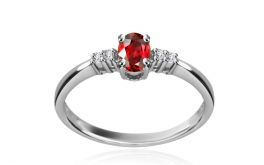 Diamantring Victorian red Merry 0,040 ct