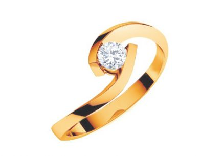 Verlobungsring mit 0,150 ct Diamant Lines Of Love Yellow